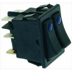 Kaksoiskytkin 16A 250V, sinisellä LED valolla