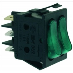 Kaksoiskytkin 16A 250V, vihreä merkkivalo